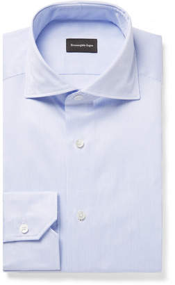 Ermenegildo Zegna Blue Slim-Fit Cutaway-Collar Striped Cotton-Twill Shirt