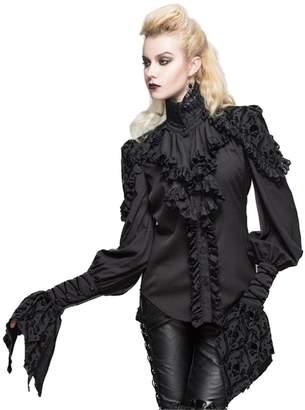 7bbf362b120fd Devil fashion Gothic Womens Victorian Lace Shirts Blouse Stand Collar  Steampunk Lolita Tops (M