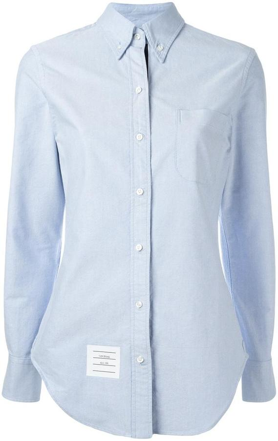Thom Browne Long Sleeve Shirt Grosgrain Placket In Blue Oxford
