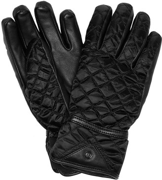 Bogner Leather-trimmed quilted ski gloves