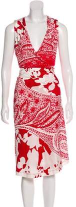 Etro Printed Wrap Dress Red Printed Wrap Dress