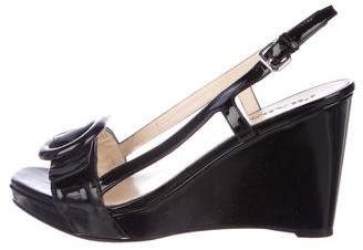 Prada Slingback Buckle-Accented Wedges