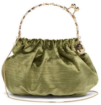 Rosantica By Michela Panero - Versailles Crystal Embellished Velvet Clutch Bag - Womens - Green