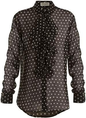 Saint Laurent Polka dot-print ruffle-trimmed silk blouse