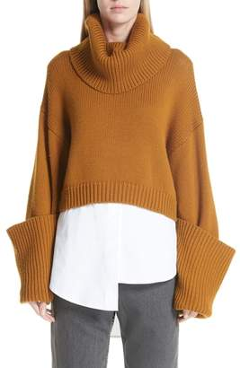 Monse Giant Cuff Crop Wool Sweater