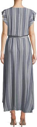 Splendid Striped Tulip-Sleeve Chambray Maxi Dress