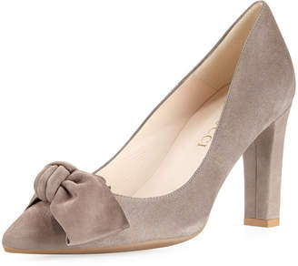 Sesto Meucci Knotted Bow High Suede Pump, Taupe