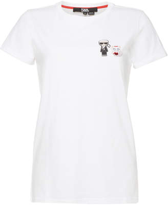 Karl Lagerfeld Ikonik Japan Cotton T-Shirt with Patches