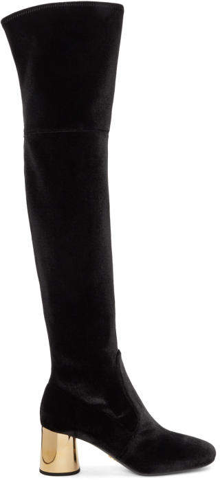 Prada Black and Gold Square Over-the-Knee Boots