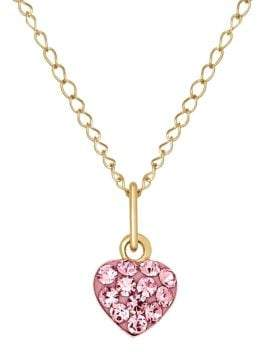 Lord & Taylor Rose Crystal and 14K Yellow Heart Necklace