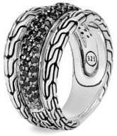 John Hardy Chain Silver, Black Sapphire& Black Spinel Ring