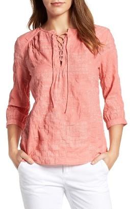Women's Caslon Print Lace-Up Peasant Top $69 thestylecure.com
