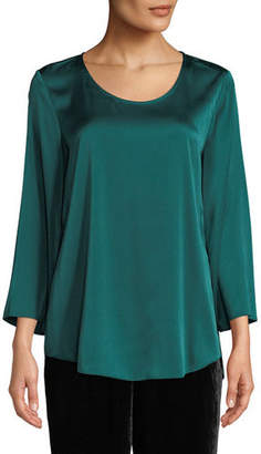 Eileen Fisher 3/4-Sleeve Silk Charmeuse Blouse