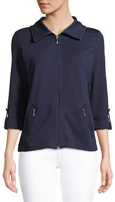 Karen Scott Petite Cotton-Blend Zip-Up Jacket