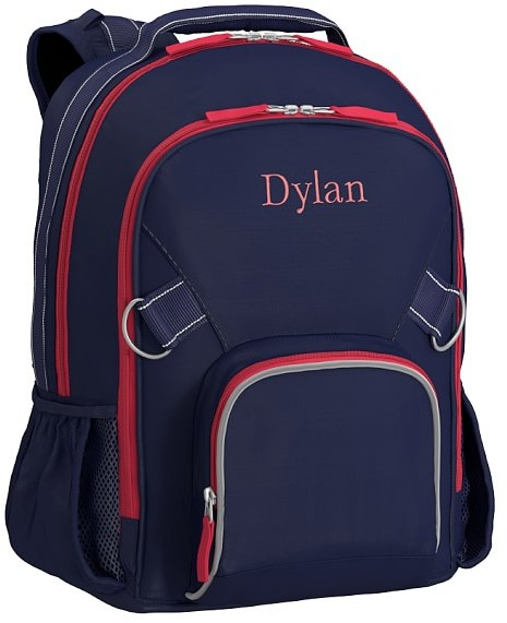 Large Backpack, Fairfax Solid Navy/Red, No Patch
