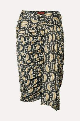 Altuzarra Ruched Draped Paisley-print Stretch-jersey Skirt - Black