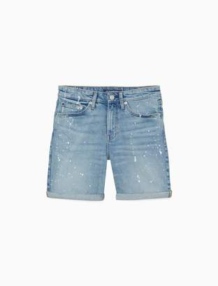"Calvin Klein Splatter Paint Denim 7"" City Shorts"