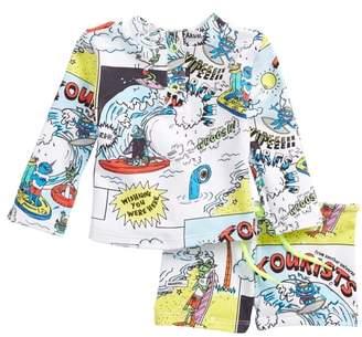 Kids Boppers Cartoon Print Two-Piece Rashguard Swimsuit