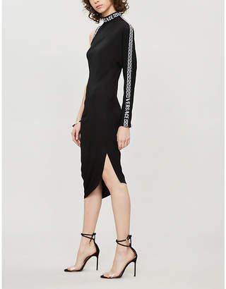 Versace One-sleeved jersey midi dress