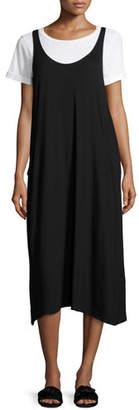 Eileen Fisher Lightweight Viscose Jersey Jumper Dress, Black, Petite