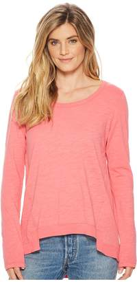 Mod-o-doc Slub Jersey Long Sleeve Forward Seam Step Hem T-Shirt Women's T Shirt
