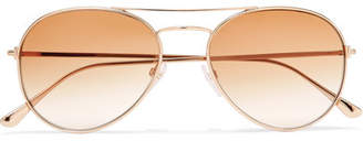 Tom Ford Aviator-style Rose Gold-tone Sunglasses - Peach