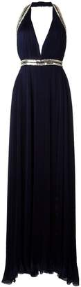 Roberto Cavalli embellished trim pleated gown