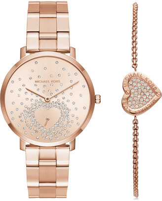 Michael Kors Women's Jaryn Rose Gold-Tone Stainless Steel Bracelet Watch and Bracelet Box Set 38mm MK3621 $295 thestylecure.com