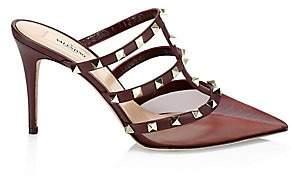 Valentino Women's Rockstud Point-Toe Leather & Mesh Mules