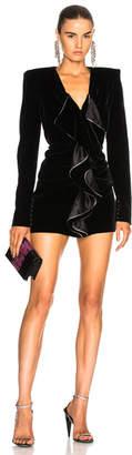 Saint Laurent Velvet Cupro Compact Mini Dress