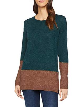 Fat Face Women's Imogen Colour Block Jumper, Green (Bottle Grn)