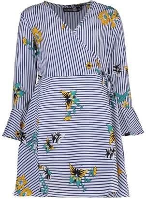 boohoo Girls Floral & Stripe Wrap Dress
