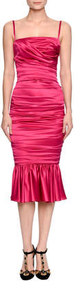 Dolce & Gabbana Sleeveless Ruched Bustier Flounce Dress, Fuchsia Pink