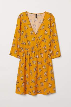 H&M V-neck Wrap Dress - Yellow