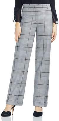 Vince Camuto Glen-Plaid Wide-Leg Pants
