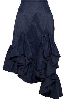 Marques Almeida Marques' Almeida Asymmetric Ruffled Metallic Shell Skirt