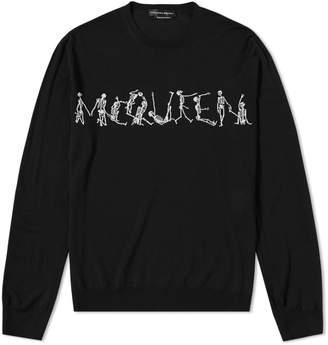 d1fa6d05c96232 Alexander McQueen Dancing Skeleton Intarsia Crew Knit