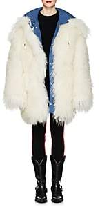 Calvin Klein Women's Reversible Shearling Oversized Coat - Azure White