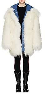 CALVIN KLEIN 205W39NYC Women's Reversible Shearling Oversized Coat - Azure White