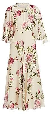 Giambattista Valli Women's Rose-Print Silk Midi Dress