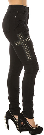 Tripp NYC The High Waisted Ripped & Studded Cross Skinny Jean