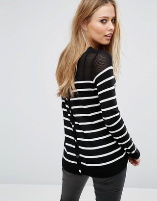 John + Jenn John & Jenn Callida Stripe Snap Back Sweater $103 thestylecure.com