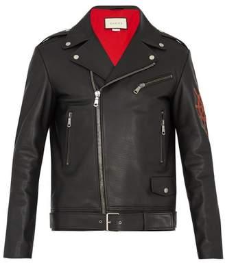 Gucci - Blind For Love Appliqué Leather Jacket - Mens - Black Multi