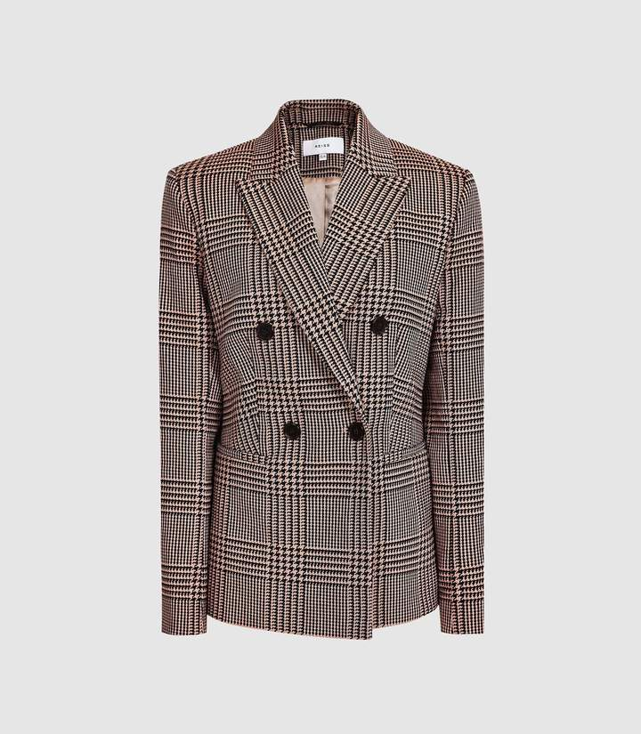 8f854f9b5dcc Reiss Cillian - Checked Boyfriend Fit Blazer in Black/pink