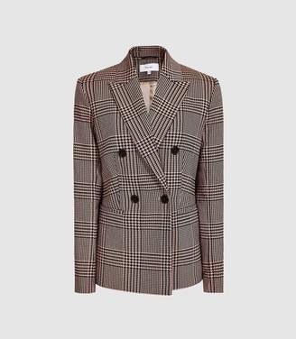 Reiss Cillian - Checked Boyfriend Fit Blazer in Black/pink