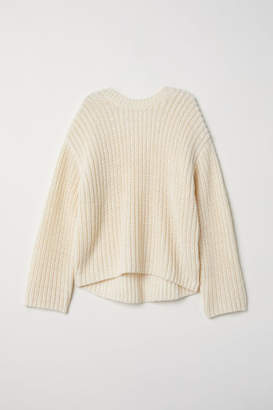 H&M Knit Wool-blend Sweater - White