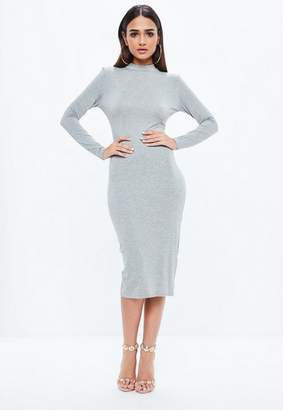 Missguided Gray High Neck Long Sleeve Bodycon Midi Dress