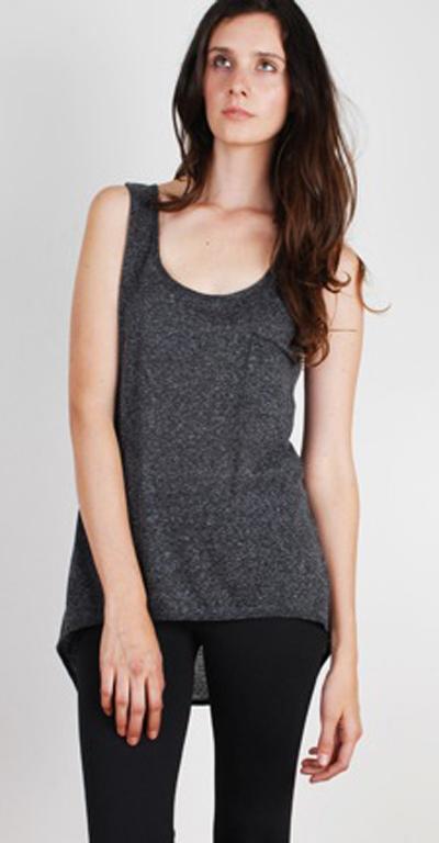 Pocket Tank in Heather Grey - by Textile Junkie