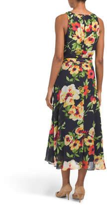 Chetta B Keyhole Floral Print Hi-lo Midi Dress
