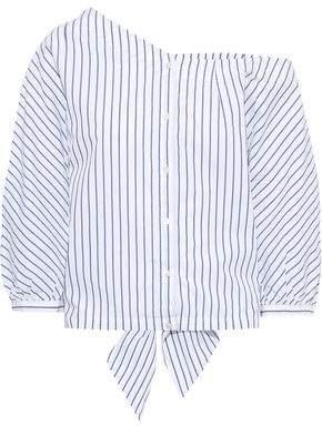 Frame Off-the-shoulder Tie-back Striped Cotton-poplin Top